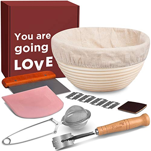 Sourdough Bread Making Tools and Supplies - 1 inch Taller Banneton Bread Proofing Basket Set, Bread Basket + Liner + Lame Bread + Bread Scraper + Bench Scraper + Flour Sifter. Bread Baking Gift Set
