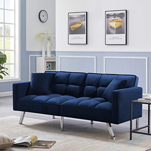 Olela Sleeper Sofa Bed Modern Tuft Futon Couch Convertible Loveseat Sleeper Reclining Sofa Bed Twin Size with Arms and 2 Pillows for Living Room, Navy Blue