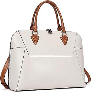 BOSTANTEN Damen Leder Aktentaschen Schultertaschen 15,6 Zoll Laptoptaschen Businesstasche Weiß