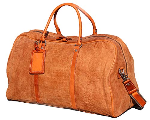 Iblue Leather Weekend Bag Brown Travel Overnight Duffels Carryon Luggage...