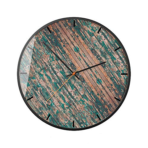 LIUXING-Home Reloj de Pared Reloj de Pared Decorativo nórdico Reloj de Sala de Estar Fresco Verde Planta Reloj Sala (Color : B, Size : 12 Inches)