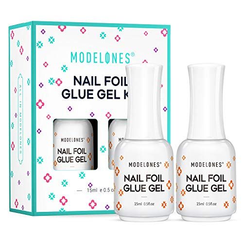 Modelones Foil Glue Nail Art for Foil Stickers Nail Transfer Tips Manicure Art DIY 15ML 2 Bottles LED Lamp Required Soak Off With Gift Box