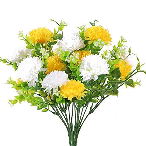 HUAESIN 3 Pcs Künstliche Blumen Chrysantheme Kunstblumen Deko Plastikblumen Friedhof Seidenblumen für Balkon Garten Zuhause Blumenkasten Grab Dekoration Weiß Gelb
