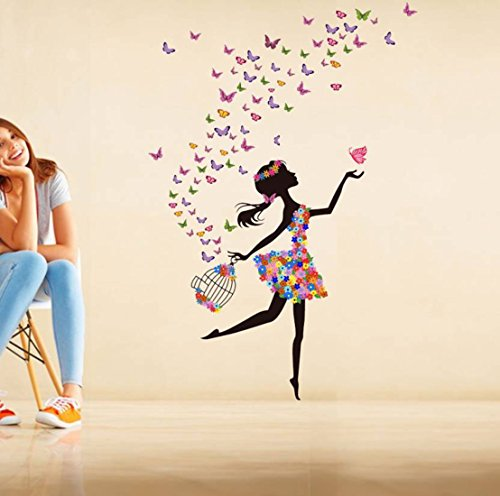 Decals Design 'Dreamy Girl with Flying Colourful Butterflies' Wall Sticker (PVC Vinyl, 60 cm x 90...