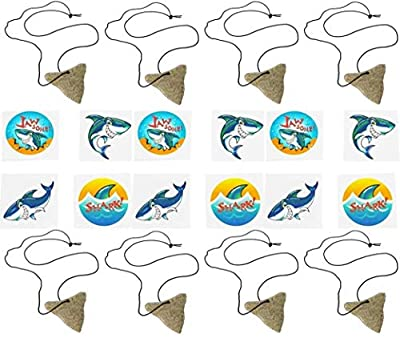 Shark Party Favor Set- Shark Tooth Necklaces and Tattoos