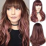Peluca ondulada de capas largas marrón rosa para mujer con flequillo disfraz de Cosplay sintético resistente al calor peluca de fiesta de Halloween con gorro de peluca