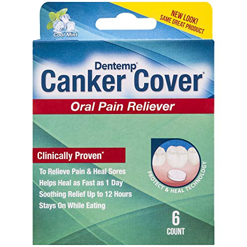 Dentemp Canker Cover, Oral Pain Reliever and Canker Sore Treatment, Pack of 6