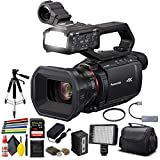 Panasonic AG-CX10 4K Camcorder with NDI/HX + Padded Case, Sandisk Extreme Pro 128 GB Memory Card, Heavy Duty Tripod, Wire Straps, LED Light, and More
