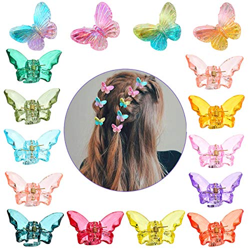 Kalolary 16PCS Schmetterling Haarspangen, Acrylic Schmetterling Hairpin Schmetterling Haarspange Krallen für Damen Mädchen Kinder Haarschmuck Produkte