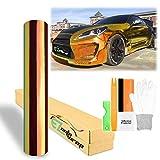 EZAUTOWRAP Free Tool Kit 53'x240' Premium Golden Orange Neo Chrome Rainbow Holographic Vinyl Wrap Sticker Decal Air Release