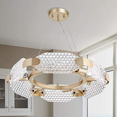 TZOE Crystal Pendant Light Modern Chandelier 6-Light Round Chandeliers,Gold Metal&Clear Glass,Crystal Chandelier for Kitchen Island,Foyer,Dining Rooms,Bedroom,Living Room,Width 22.4 Inch