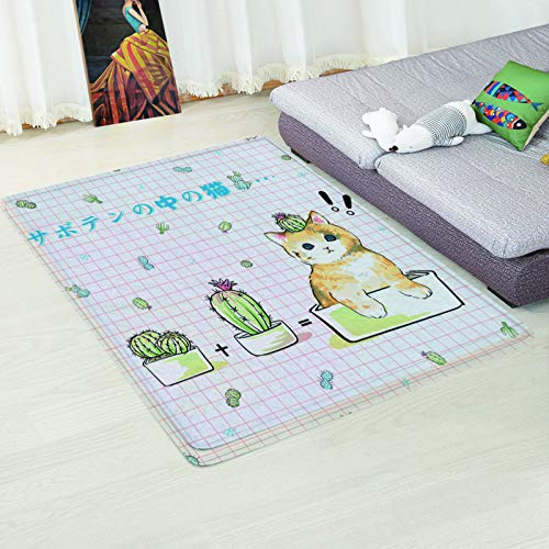 MMHJS European Style Printed 3D Non-Slip Carpet Geometric Rectangle Desk Coffee Table Sofa Mat Bedroom Living Room Hotel Homestay Party Carpet