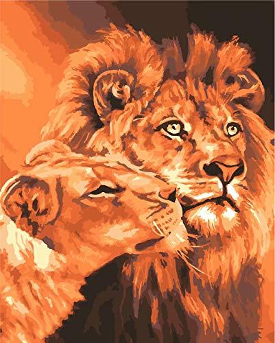 Toudorp Pintura al óleo de Bricolaje por números Animales, Lienzo Pintura al óleo León Reyes Pintura por números con Pinceles sin Marco 16 x 20 Pulgadas