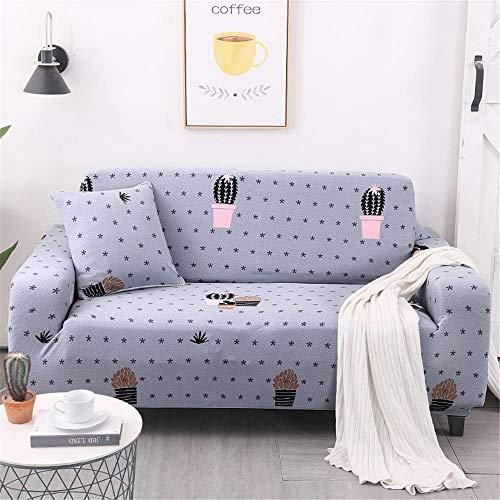 Funda de sofá Antideslizante de Poliéster Spandex Cactus Azul Estampado,Funda elástica Antideslizante Protector Cubierta de Muebles para sofá de 4 plazas(1 Funda de Cojines)