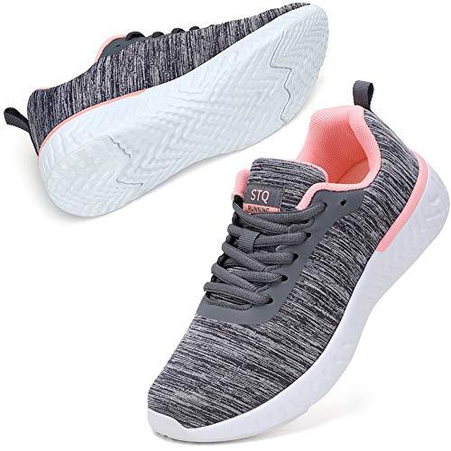 STQ Sportschuhe Damen Turnschuhe Leichtgewicht Atmungsaktive Laufschuhe Fitness Outdoor Sneakers Walkingschuhe Grau Rosa 40 EU