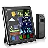 Estacion Meteorologica con Sensor Exterior, Termómetro Digital Higrómetro con Pantalla Táctil LCD en Color, Barometro, Reloj, Despertador, TSAI Professional Termometro Interior Exterior