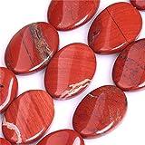 Perline ovali di diaspro rosso semi preziose per la creazione di gioielli, 45,7 x 25 mm
