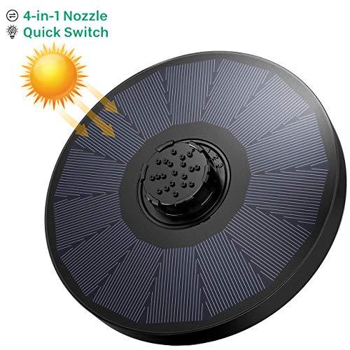 OMORC Bomba Fuente Solar, Bomba de Agua Solar, Fuente Solar Jardín con Boquilla 4 en 1 y 2 Esponjas de Filtro, 4 Modos de Rociado de Agua para Baño de Pájaros, Decoración de Jardín, sin batería