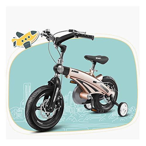 Ice-Beauty-ukzy Kinder Fahrrad Laufrad 16 Zoll Kinderfahrrad Rahmenmaterial Magnesiumlegierung Jungen and Mädchen(Gold, Pink, Gelb, Blau) Gold