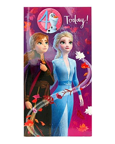 Geburtstagskarte zum 4. Geburtstag – Frozen 2 – Geburtstagskarte für Mädchen – mit Prinzessin Anna, Prinzessin Elsa und Olaf