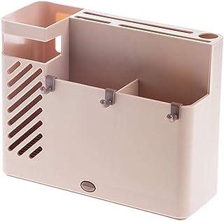 LRHD ソリッドカラープラスチックラックナイフフォークスプーンへら収納ボックスホテルのキッチン、大容量ドレイン、ホテルホームズ、多区画中空テーブルトップ(グレー) (Color : ピンク)