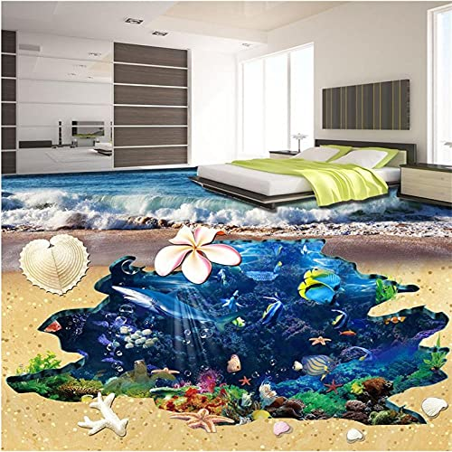 Pulverización De Concha De Estrella De Mar Mundo Submarino Suelo 3D Pintura Tridimensional Pintura De Suelo Personalizada-200X140Cm Azulejos De Suelo 3D Murales Pegatinas Cuarto De Baño Vinilo Autoa