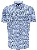 FYNCH-HATTON Camisa de hombre para negocios y ocio, de algodón prémium, de manga corta, con cuello abotonado y estampado popular para camisas Flores marinas. XXL