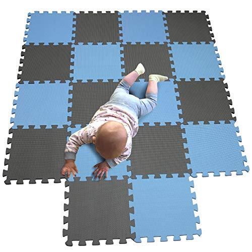 MQIAOHAM Esterilla Puzzle de Fitness-18 losas de EVA Espuma Alfombrilla Protección para el Suelo para máquinas de Deporte y gimnasios sobre el Piso Fácil de Limpiar Azul Gris 107112