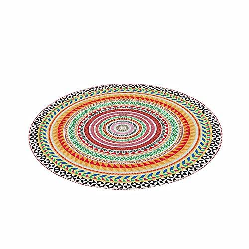 Tapete Redondo Felpudos Alfombra, Morbuy Alfombras Piso Moqueta Dormitorio Sala de Estar Juego Mats Pad para Habitación Decorativo - Impresión de Mandala Bohemia (Colores del Arcoiris,120cm)