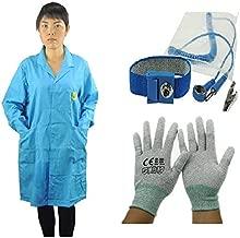DSEGO Color Azul Algodón ESD Antiestático Lab Coat ESD Smock Work Wear ESD Prenda con 1 pc ESD Correa de Muñeca y 1 pc ESD Tacón Correa, Azul