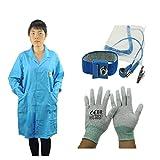 ESD Cotone Uniforme Colore Blu ESD Antistatico Lab Coat ESD Smock Usura Da Lavoro Smock Con ESD Cinturino Da Polso E Guanto ESD