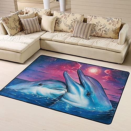Alfombra de Dormitorio Dolphin Non Slip Area Rugs 63 X 48 Inch, Carpet for Home Dining Room Playroom Living Room Large Floor Rug Floor Mat