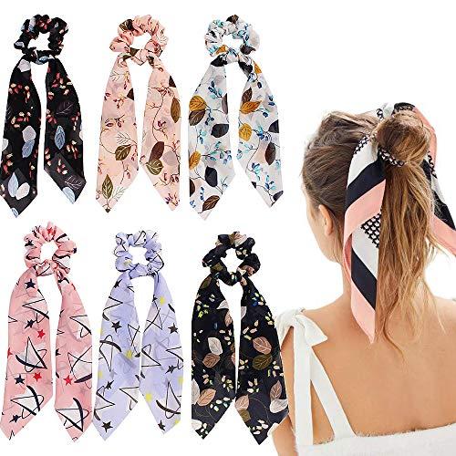 6Pcs Bandana Hair Scrunchies, Satin Silk Elastic Hair Bands Hair Scarf, Vintage Hair Accessories Ropes Ponytail Holder Scrunchy Ties for Women Girls (6Pcs-A-Chiffon scrunchie)