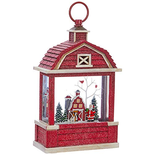 Raz Imports 10.75' Lighted Santa Near Barn Water Barn Shaped Lantern Lighted Christmas Snow Globe with Swirling Glitter
