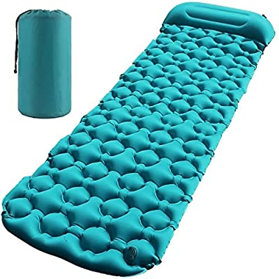 Esup Sleeping Pad with Pillow and Multi Use Pump Sack Self-Inflating Camping Pads for Hiking, Fishing, Backpacking and Outdoor Adventures (Single)