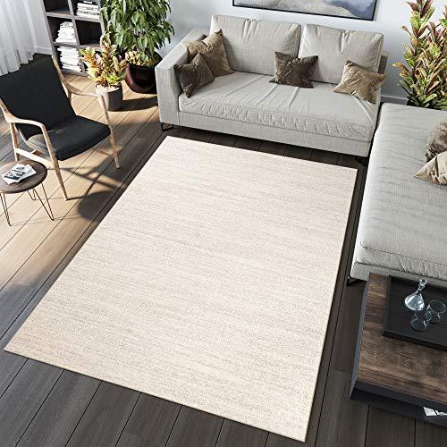 TAPISO Sari Alfombra de Salón Comedor Dormitorio Diseño Moderno Crema Crudo Plano Liso Pelo Denso Frise 200 x 290 cm