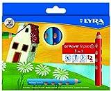 Lyra Groove Triple - Estuche con 12 lápices de colores y mina, diámetro 10 mm