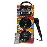Biwond JoyBox Pocket Altavoz 10W + Micrófono (Bluetooth TWS, Mando IR AUX, Radio FM, Tarjeta SD, USB, Pantalla LED) – Picasso