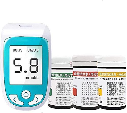 ZLLLL 3 en 1 Kit colesterol, Conjunto de glucómetros de Sangre Monitor de glucosa en Sangre 10 CHO + 50 BLO + 25UA Papel de Prueba Diabetes Médico Kit para la Salud del hogar