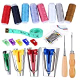 Bias Tape Tool Kit with Instruction, 4 Sizes Bias Tape Maker, Bias Folder with 8 Color Sewing Thread, Sewing Clips, Ball Point Pins and Other Tools for Fabric Sewing and Quilting