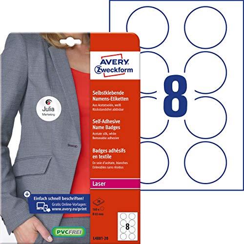 AVERY Zweckform Namensetiketten (160 Namensaufkleber, Ø 65 mm auf DIN A4, selbstklebend, bedruckbare Textiletiketten aus Acetatseide, rückstandsfrei ablösbar, rund, Laser, 20 Bogen L4881-20) weiß