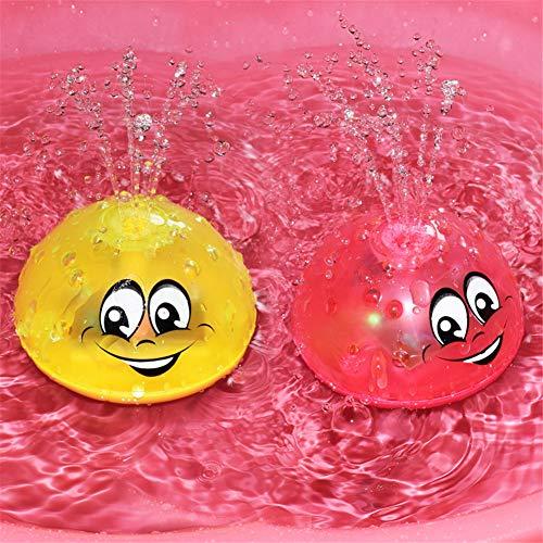 Amyove Water Jet Badespielzeug Spray Wasser Licht Drehen Mit Dusche Pool Kinder Spielzeug Für Kinder Kleinkind Schwimmen Party Bad LED-Licht Spielzeug rot gewöhnliche