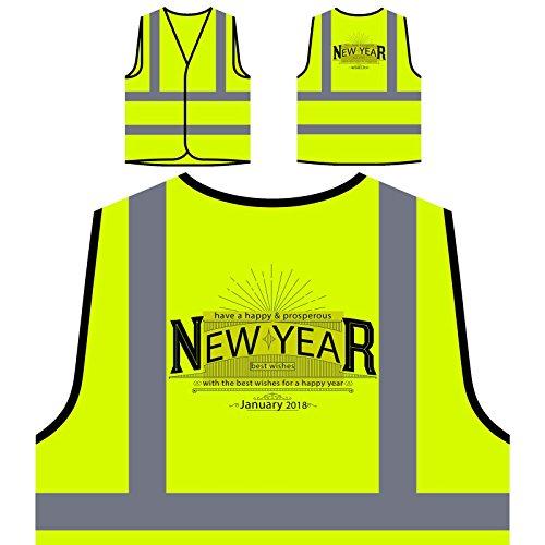 Bonne année voeux Veste de Protection Jaune personnalisée à Haute visibilité u278v