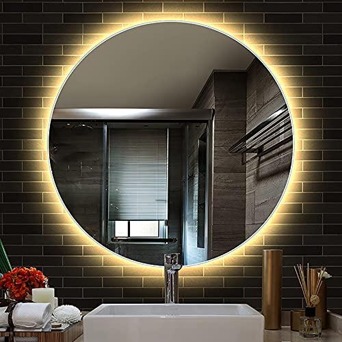 Espejo De Baño LED RedondoCon Iluminación, Espejo De Pared Antinieble Spejo De Maquillaje De Alta Definición Con Función De Atenuación E Interruptor De Sensor Táctil