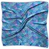 Las mujeres de la moda suave cuadrada sirena peces escamas azul pañuelo bufanda satén seda gasa cabeza cuello multi uso poliéster bufandas