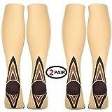(2 pares) calcetines de compresión/medias para hombres y mujeres, acelera la recuperación mejor ajuste atlético graduado para viajes, correr, enfermeras, espinilleras
