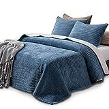 Kasentex Plush Poly Velvet Lavish Design Quilt Set with Reversible Shu Velveteen Sherpa - Luxurious Bedding Soft & Warm Comforter Machine Washable Comforter (Heavenly Blue, King + 2 Shams)