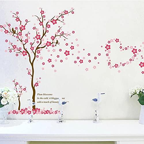 3D Rosa Ciruela Flor Árbol Amor Pegatinas De Pared Pvc Sala De Estar Dormitorio Decoración De Fondo Mural Arte Calcomanías Decoración Del Hogar Pegatina