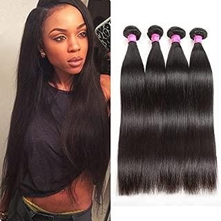 ISEE Hair 8A Malaysian Virgin Straight Hair 4 Bundles 100% Unprocessed Human Hair Weave Bundles Human Hair Extensions 4 Bundles Deal Natural Black 18 18 20 20inches