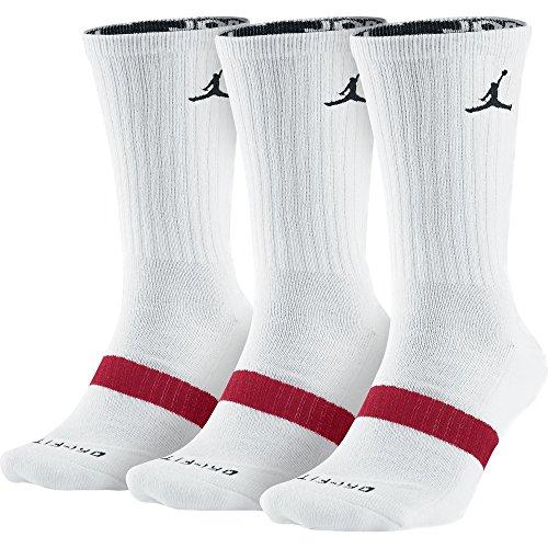 Jordan Dri-Fit 546481-100 - Calcetines largos (3 unidades), color blanco y negro, XL, Blanco/Negro/Rojo